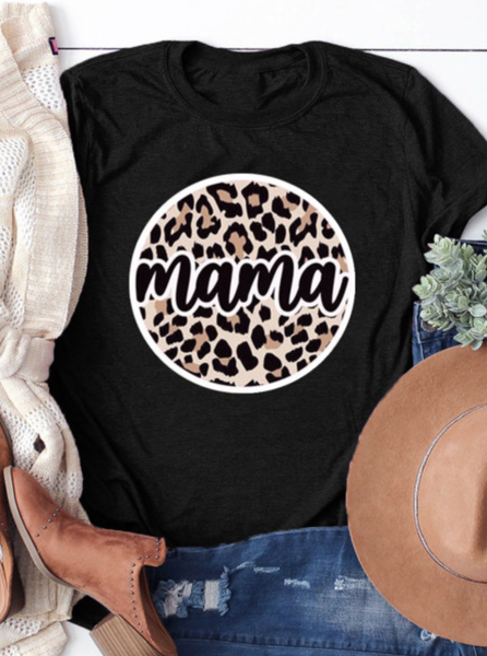 PRE-ORDER Black Mother's Day Leopard Mama Graphicc Tee