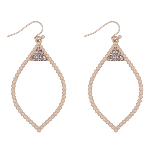 Textured Marquise Gold Cream Drop Earrings
