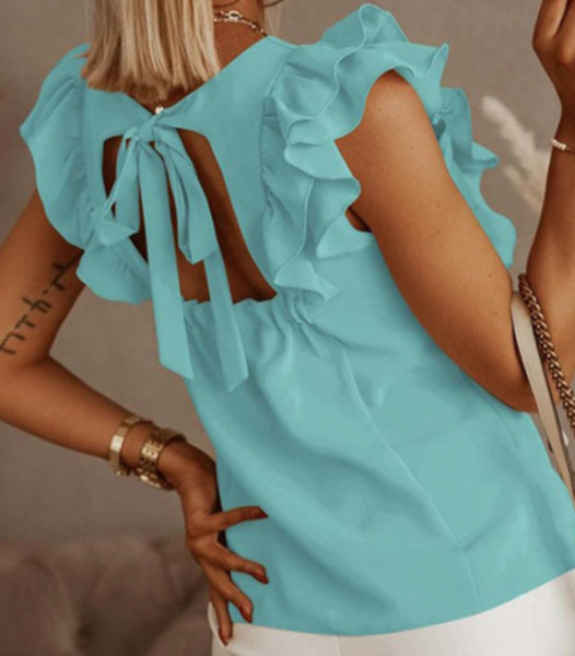 PRe-Order Ruffle Tie Back Hollow-out Shirt