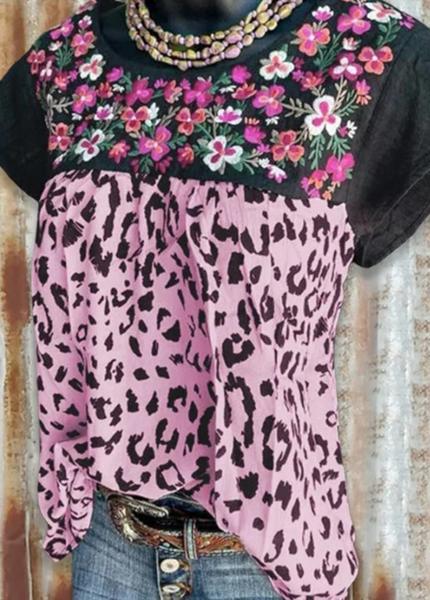 Pre_Order Floral Print O-Neck Short Sleeve Top