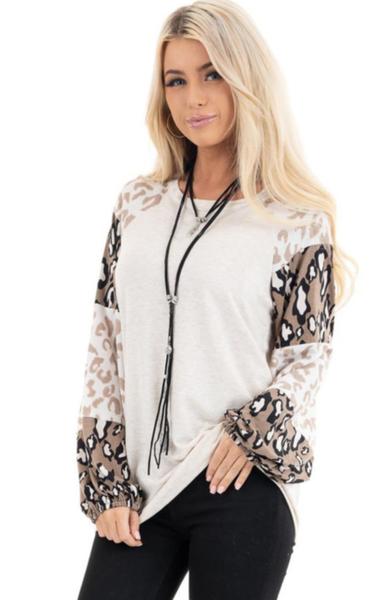 Pre-Order Beige Leopard Print Bubble Sleeve Top