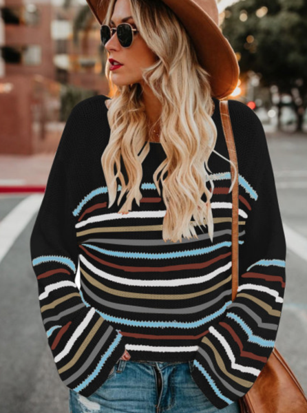 Black Rainbow Stripe Pattern Sweater
