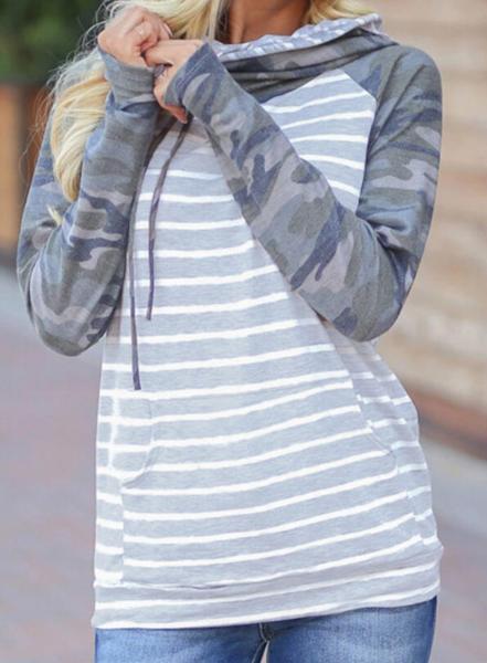 Pre-Order Gray Striped Camouflage Drawstring Kangaroo Pocket Hoodie