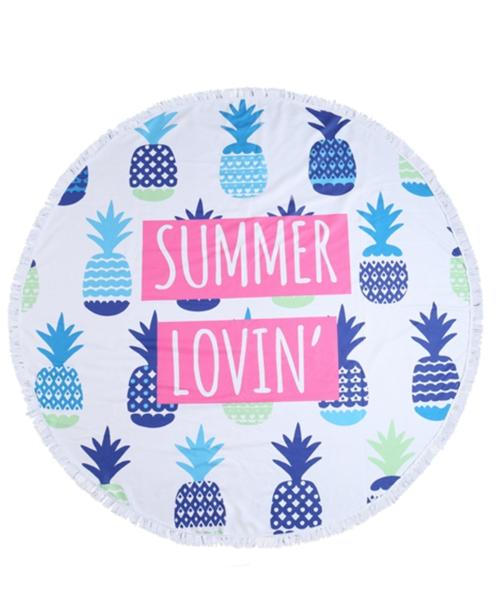 Summer Lovin Pineapple Round Towel