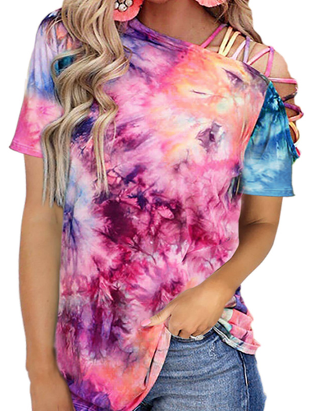Pre-Order Tie dye One Shoulder Hollow-out Short Sleeve Top