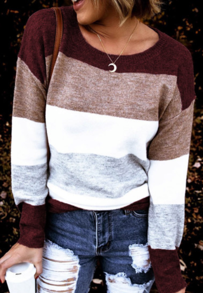 Pre-Order Round Neck Colorblock Knitting Sweater
