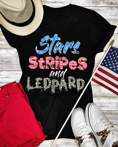 Pre-Order Stars Stripes and Leopad Print Graphic Tee