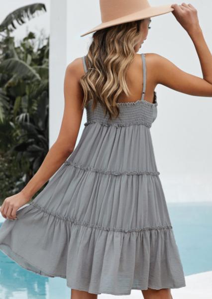 Pre-Order Gray Spaghetti Straps Ruched Ruffled Mini Dress