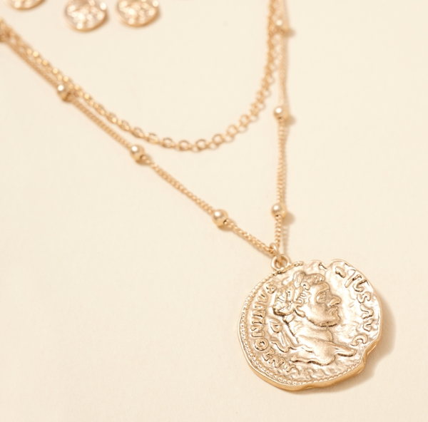 Coin Charms Layered Necklace-Gold