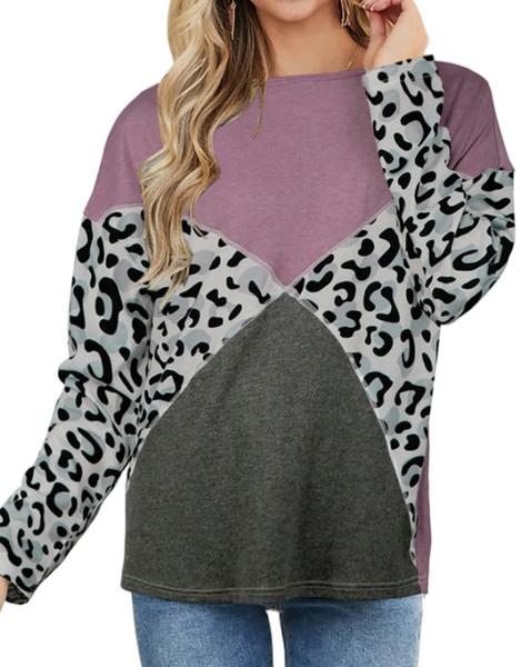pre order Purple Leopard Splicing Long Sleeve Top