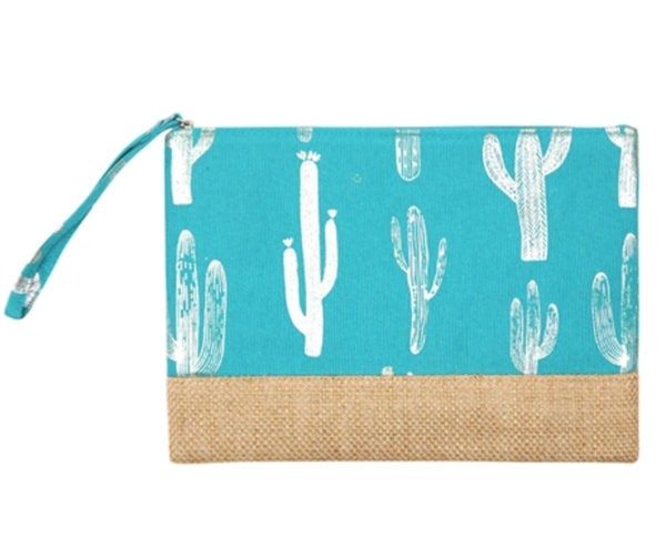 Silver Foil Cactus Pouch turquoise