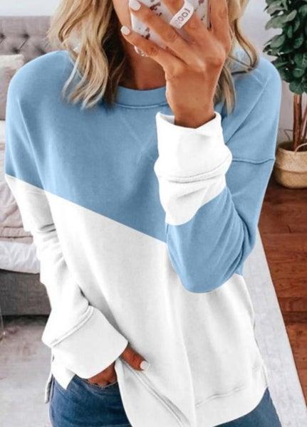 Pre- Order Light Blue Patchwork Dropped Shoulder Sleeve Sweatshirt