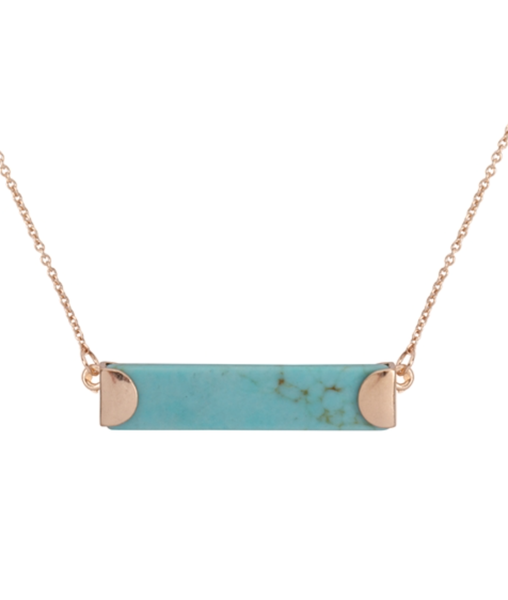 Pre-Order Stone Bar Pendant Necklace Turquoise