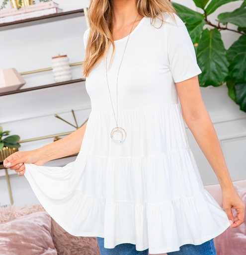 SHORT SLEEVES TIERED RUFFLE TOP- IVORY