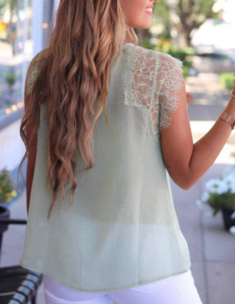 Pre-Order Green From A Dream Lace Tank Top with Vest