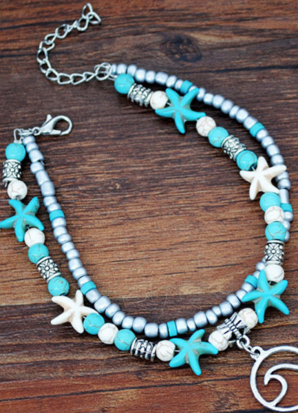 Pre-Order Bohemian Turquoise Starfish Dual-Layered Anklet