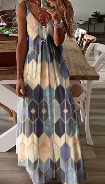 Pre-Order Orange Print V-neck Slip Dress