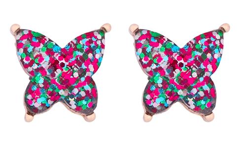 Glitter Butterfly earrings- dark multi color