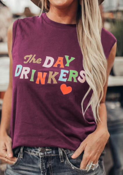 Pre-Order The DAY DRINKERS Letters Print Tank Top