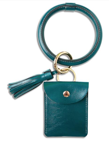 Pre-Order Teal PU Tassel Leather Wrist Card Holder