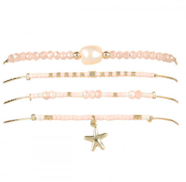 PINK FRESH PEARL WITH CAST STAR FISH CHARM BRACELET