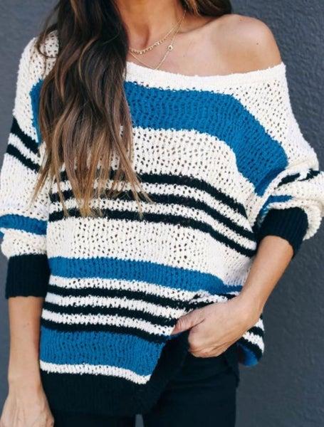 Blue Loose Fit Striped Pattern Sweater