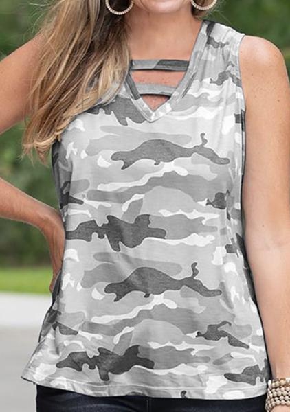 pRe-Order Camo Print Hollow-out V-neck Sleeveless Tank Top