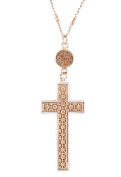 Cross W/Natural Stone Pendant Chain Necklace-Matte Gold Brown