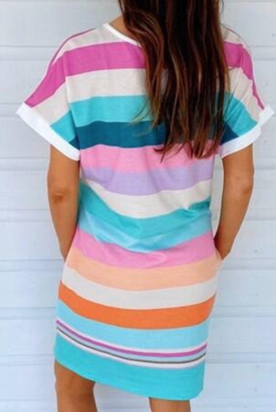 Pre-Order Colorful Stripe T-Shirt Dress with Pockets