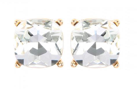 Clear glass post cushion earrings