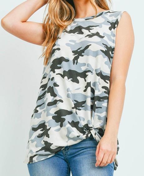 Charcoal/Grey Camo print front knot tank top