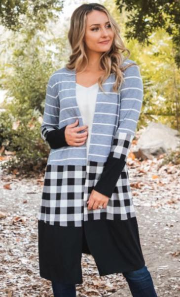 Pre-Order Light Grey Striped Plaid Splicing Color Block Cardigan