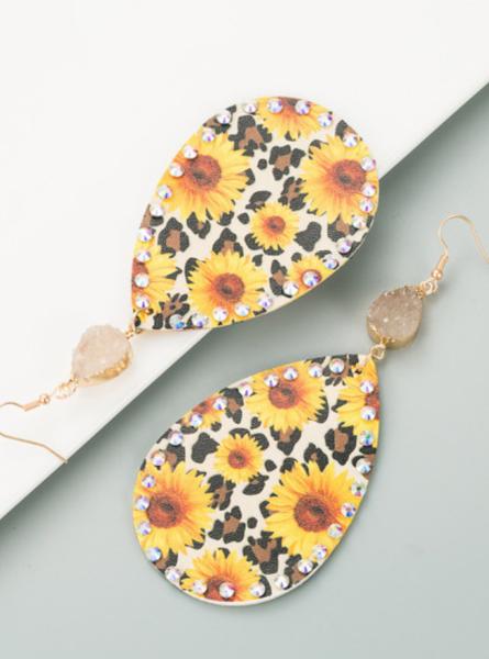 Pre-Order Sunflower Diamond Water Drop Hook Earrings