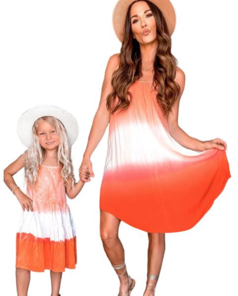 Pre-Order Orange Ombre Tie-dye Sleeveless Flowy Dress-matching Mom Dress