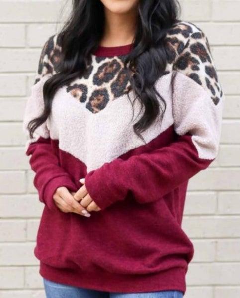 Pre-Order Wine Leopard Sherpa Brushed Colorblock Knit Pullover Sweatshirt