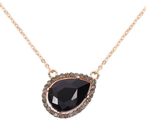 Black / gold tear drop pendant necklace