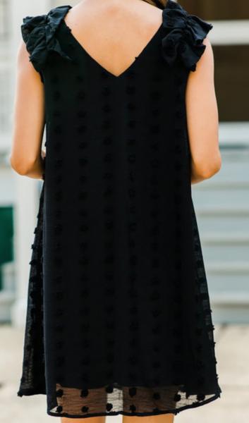 Pre_order Black Swiss Dot V Neck Ruffled Sleeveless Mini Dress