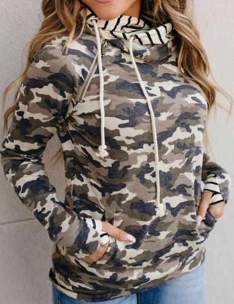 Pre-Order Camouflage Zipper Collar Striped Double Hooded Sweatshirt