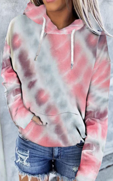 Pre-Order Multi-colour Tie Dye Kangaroo Pocket Hoodie