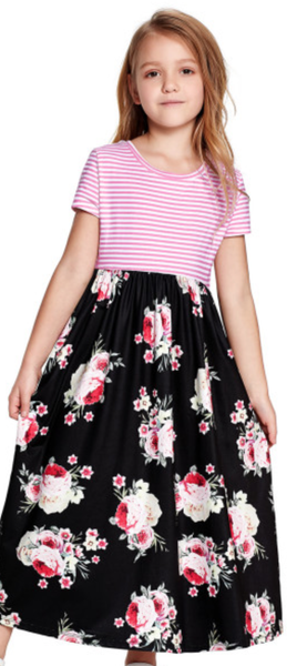 Pre-Order Black Striped Floral Print Little Girls Maxi Dress