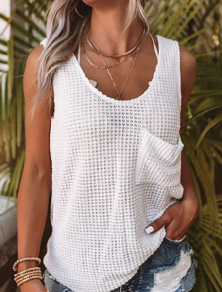Pre-Order White Waffle Texture Tank Top