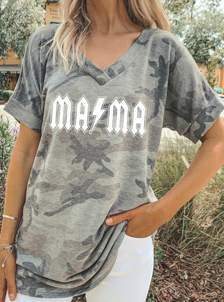Pre-Order Camouflage White MAMA Letter Printed Top