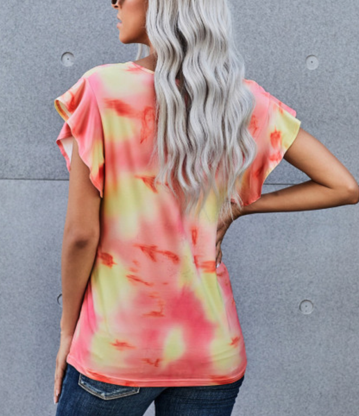 Pre-Order Orange Tie-dye Print Ruffled Sleeves T-shirt