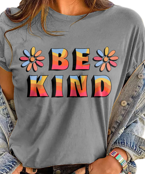Pre-ORder Gray BE KIND Printed Graphic Tee