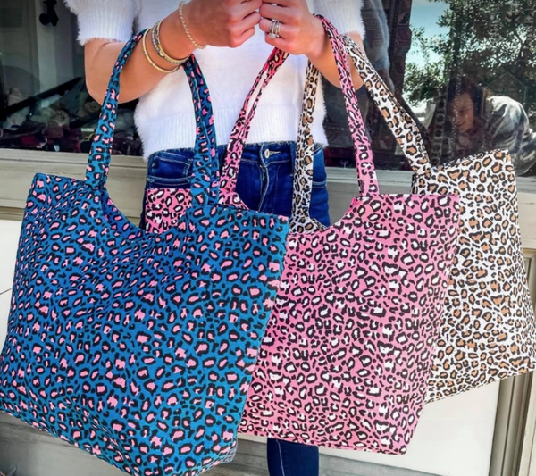 Leopard Print Tote Bag Coral
