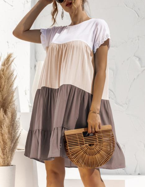 Pre-Order Color Block Boho Dress