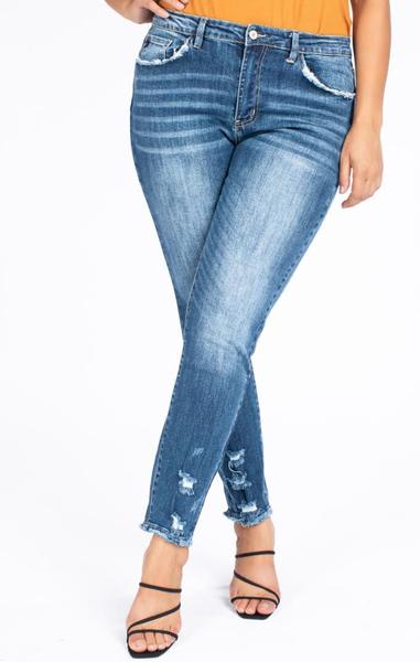 PLUS SIZE HIGH RISE SUPER SKINNY Dark wash jeans