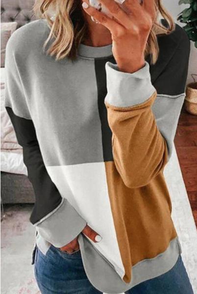 Color Block Round Neck Long Sleeves Pullover Sweatshirt