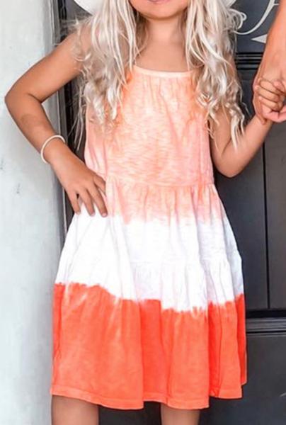 Pre_order Orange Ombre Tie-dye Sleeveless Flowy Kids' Parent-child Dress