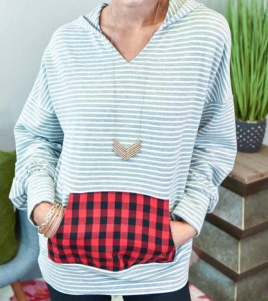Gray Striped Pullover Hoodie with Plaid Kangaroo Pocket